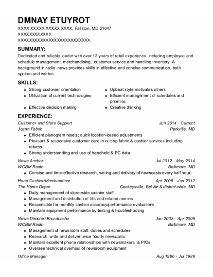 News Anchor resume template Maryland