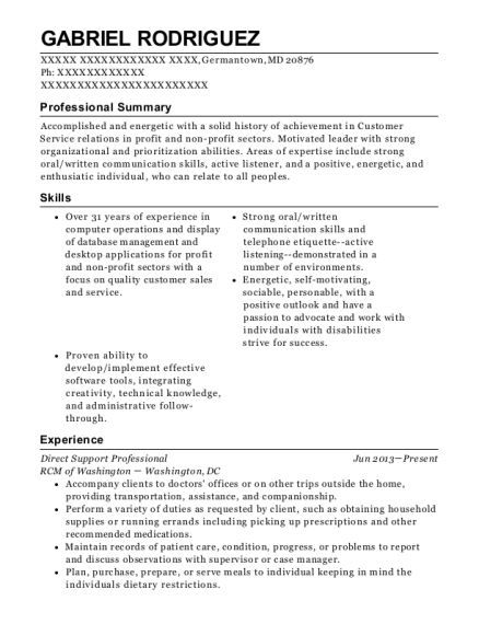Direct Support Professional resume sample Maryland