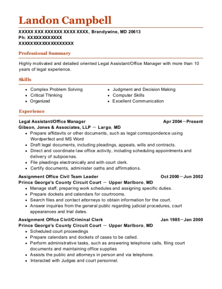 Legal Assistant resume sample Maryland