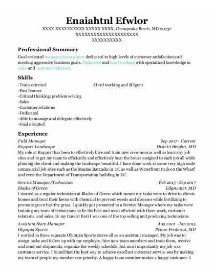 Field Manager resume format Maryland