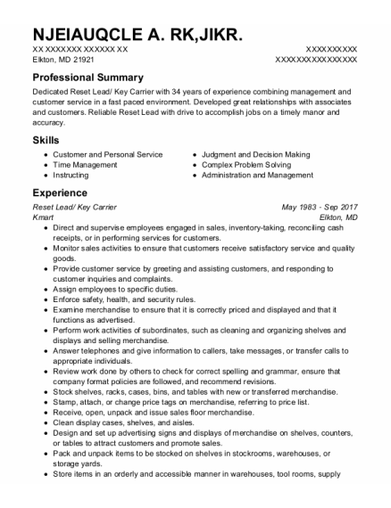 Key Carrier resume example Maryland
