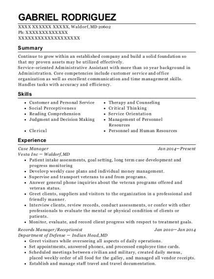 Case Manager resume example Maryland