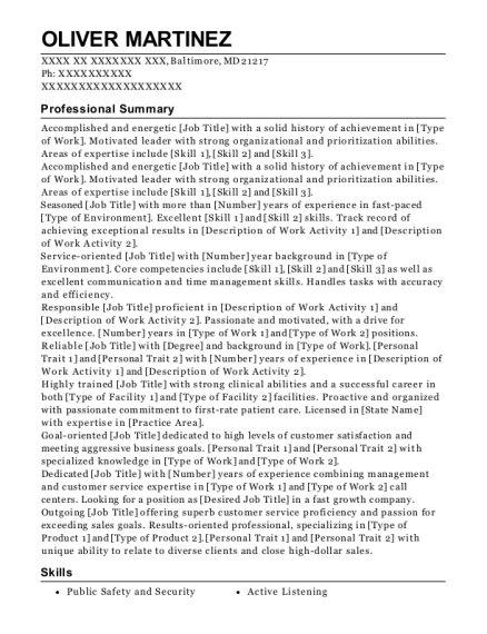 Correctional Officer resume format Maryland