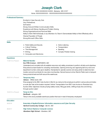 Material Handler resume example Maryland