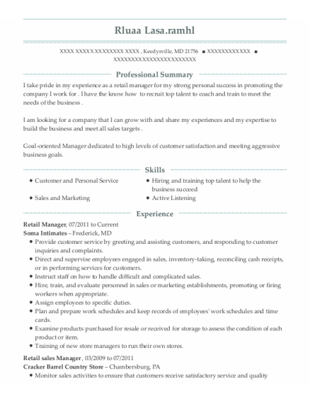 Retail Manager resume format Maryland