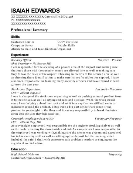 Security Officer resume format Maryland