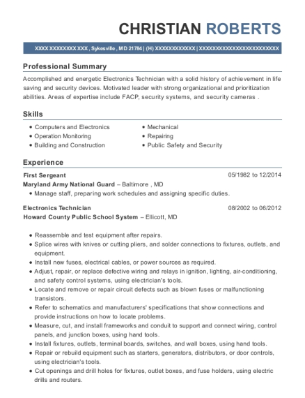 First Sergeant resume template Maryland