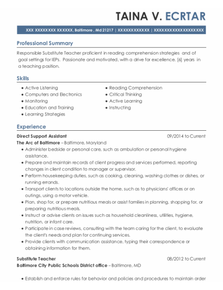 Direct Support Assistant resume format Maryland
