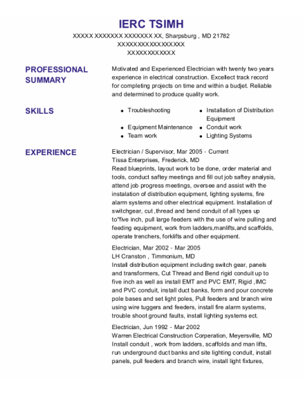 Electrician resume sample Maryland