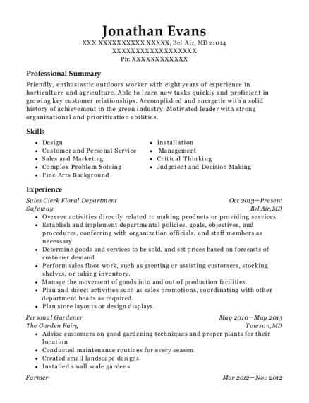 Sales Clerk Floral Department resume example Maryland