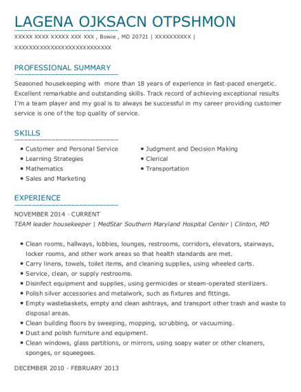 Laundry Aide resume template Maryland