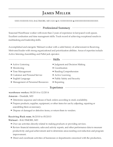 Warehouse Worker resume format Maryland