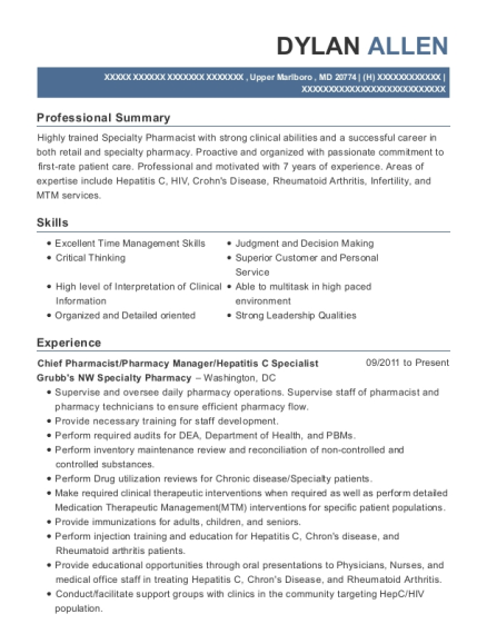 Chief Pharmacist resume format Maryland