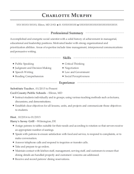 Substitute Teacher resume template Maryland