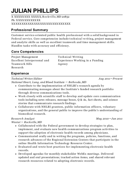 Technical Writer resume format Maryland