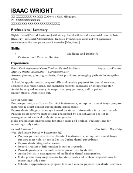 Front Desk Associate resume sample Maryland