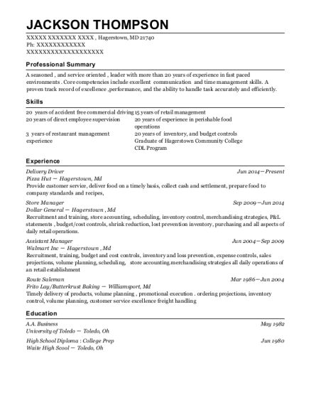 Delivery Driver resume format Maryland
