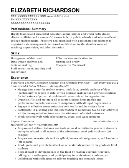 Classroom Teacher resume format Maryland
