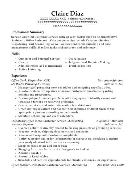 Office Clerk resume template Maryland