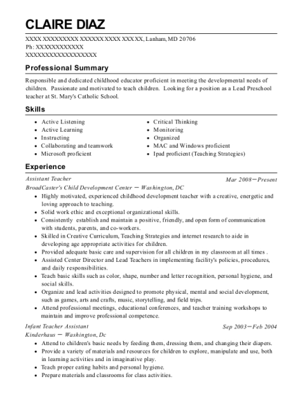Assistant Teacher resume example Maryland
