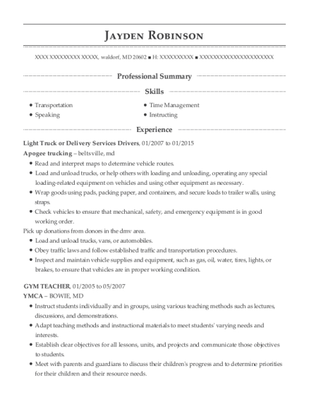 Light Truck or Delivery Services Drivers resume template Maryland