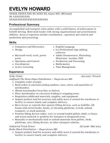 Order Picker resume format Maryland