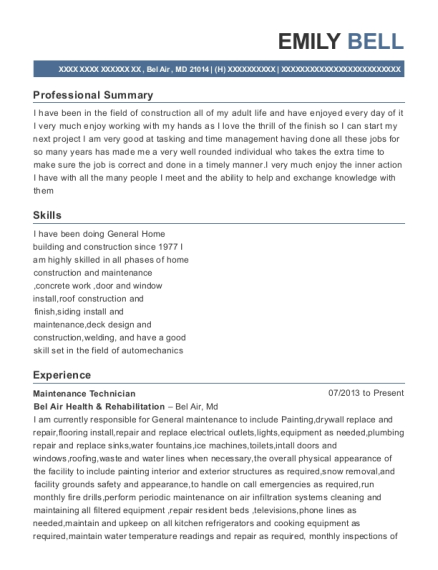 Maintenance Technician resume sample Maryland