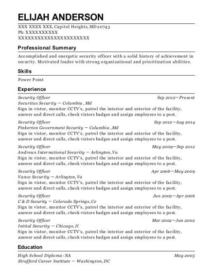 Security Officer resume example Maryland