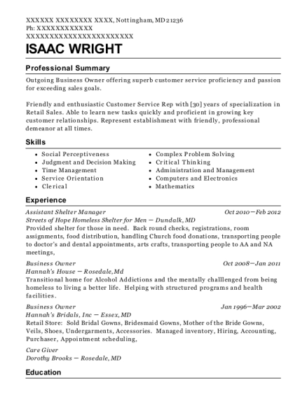 Assistant Shelter Manager resume sample Maryland