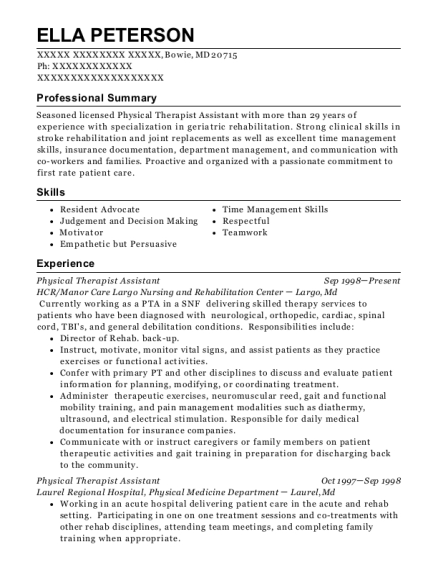 Physical Therapist Assistant resume sample Maryland