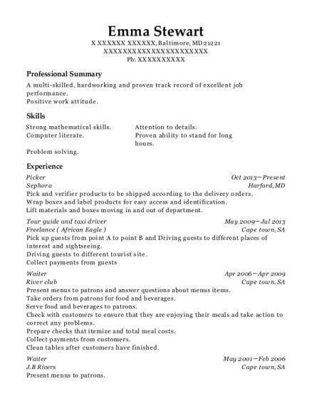 Picker resume example Maryland