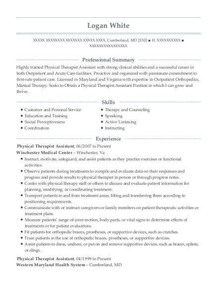 Physical Therapist Assistant resume format Maryland