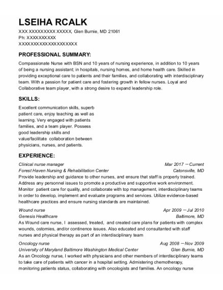 Clinical Nurse Manager resume template Maryland