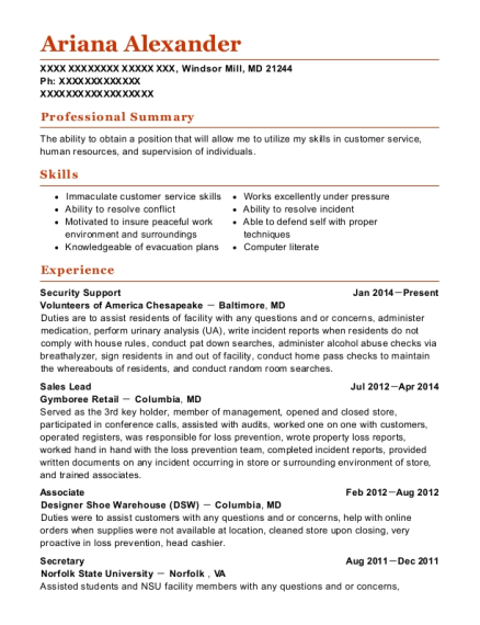 Security Support resume template Maryland