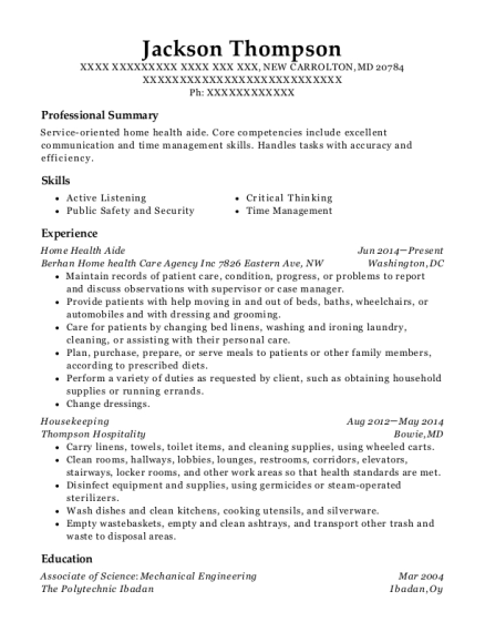 Home Health Aide resume example Maryland