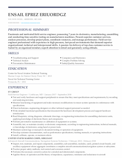 Field Service Engineer resume sample Maryland