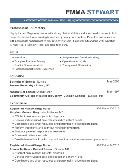 Registered Nurse resume template Maryland