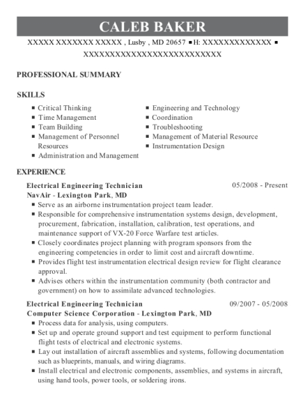 Electrical Engineering Technician resume format Maryland