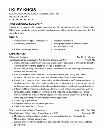 Orthodontic Assistant resume sample Maryland