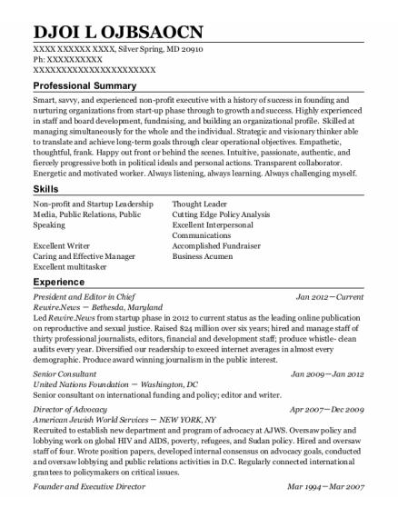 Senior Consultant resume template Maryland