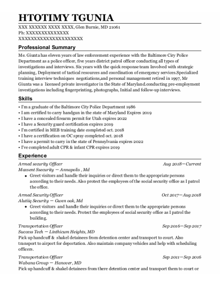 Armed Security Officer resume format Maryland