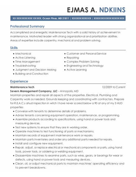 Maintenance Tech resume example Maryland