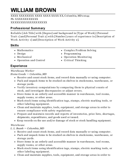 Warehouse Worker resume example Maryland