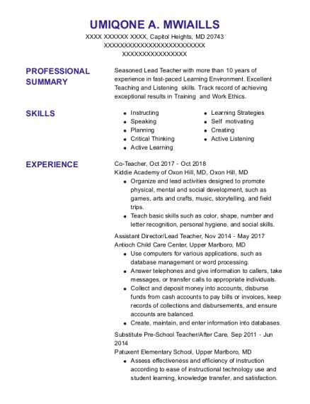 Assistant Director resume format Maryland