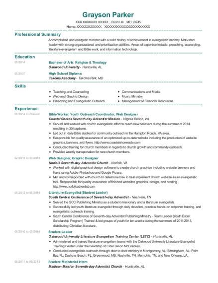 Bible Worker resume template Maryland