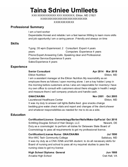 Senior Consultant resume format Maryland