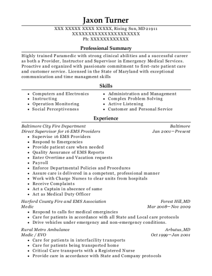 Direct Supervisor for 16 EMS Providers resume format Maryland