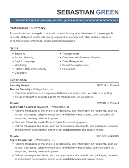 Security Guard resume template Maryland