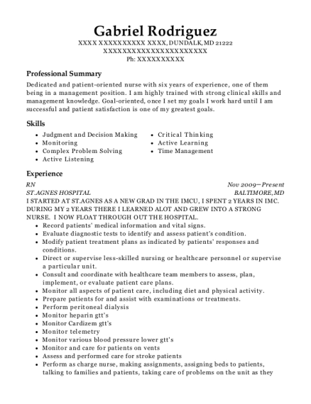 RN resume sample Maryland