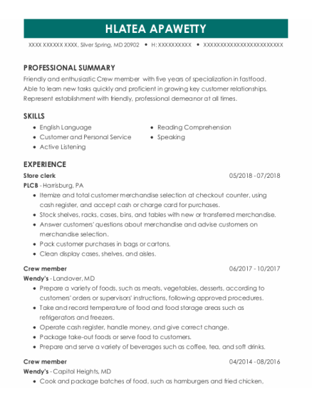 Store Clerk resume format Maryland